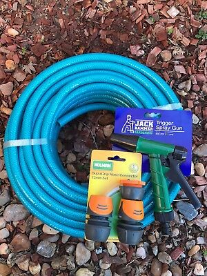 "Garden Water Hose 20M Knitted 4 Layer  1/2"" - 12mm Holman Fittings Pistol Kink F"