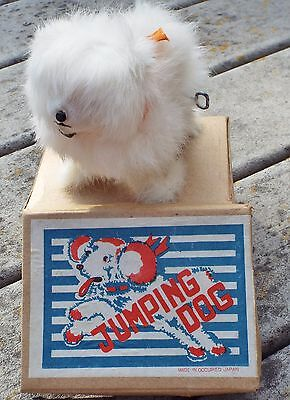 Vintage Occupied Japan wind-up fur covered poodle, Jumping Dog toy GREAT BOX!