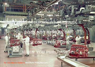 Holden Gmh Red Motor Poster - Production Line - A3 Print Picture Image Photo