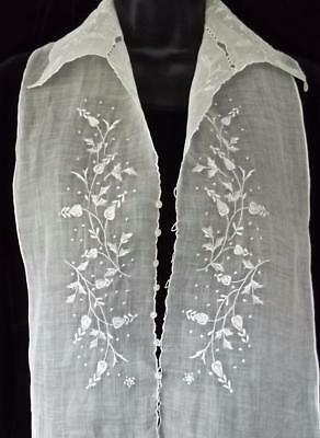 Antique French 1920 Organdy Ladies Dickey Hand Stitched Embroidered Front Collar