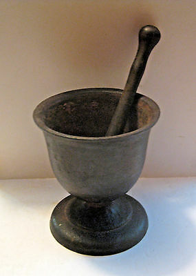 Scarce Large Heavy Antique Primative Cast Medical Pharmaceutical Mortar & Pestle