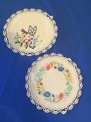 2 Vintage Pretty Embroidered Doilies / Doily