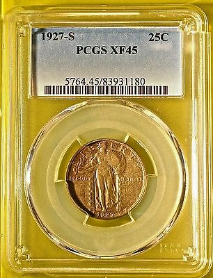 1927-S Standing Liberty Quarter PCGS XF45, ***KEY DATE, EXQUISITE EYE APPEAL!***