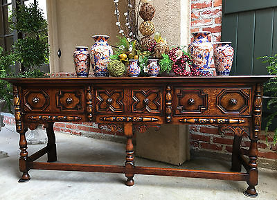 Antique English Carved Oak Sofa Table Jacobean Sideboard Buffet Kitchen Dresser