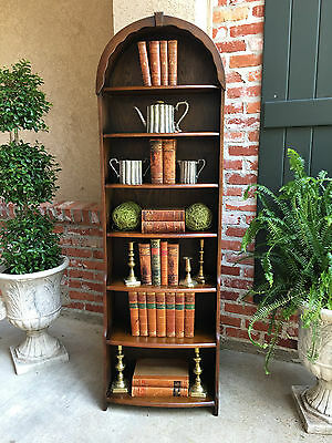 Antique Vintage English Oak Open Bookcase TALL Dome Top Edwardian Waterfall