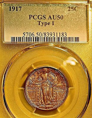 1917 TYPE 1 Standing Liberty Quarter PCGS AU50 PQ++ ***LIKELY UNDERGRADED***