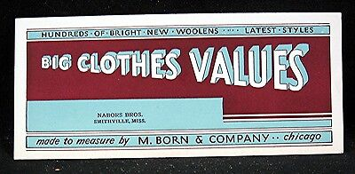 M Born & Company Big Clothes Values Advertising Ink Blotter Chicago Il Old Stock