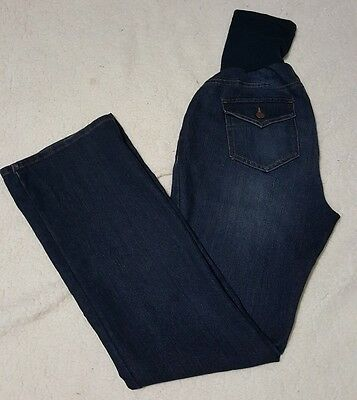 Motherhood Maternity dark wash stretch denim jeans with full belly band size L