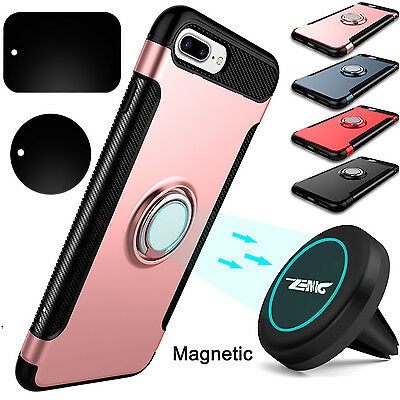 Shockproof Ring Holder Stand Case + Car Vent Mount Holder For iPhone 7/8 Plus/ X