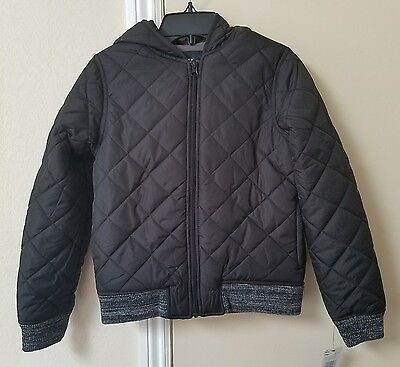 NWT French Toast Girls Quilted Hooded Bomber Jacket Size 10/12 Black $68