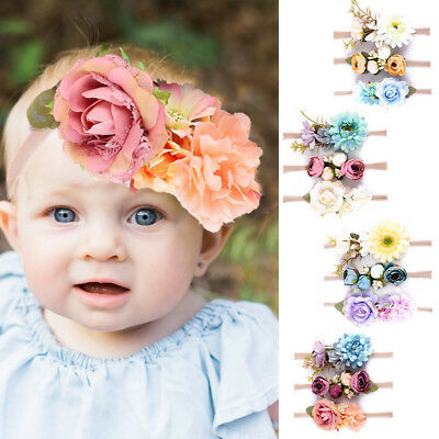 3PCS Girl Crown Headband Hair Band Baby Garlands Gold Leaves Rose Flower Wreath