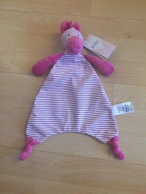 "*BNWT* Marks & Spencer PINK ZEBRA 12"" Comforter Blankie Blanket Soft Toy M&S"