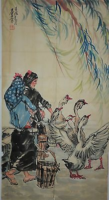 Rare Large Chinese Painting Signed Master Huang Zhou No Reserve Unframed C5157