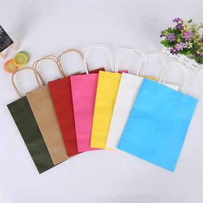 12 Colors Recyclable Paper Bags Handles Bags Party Shopping Gift Kraft Paper Bag