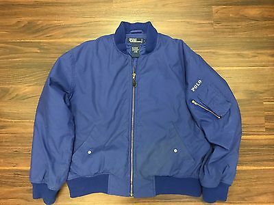 Polo Ralph Lauren Vintage Blue Pilot Flight Bomber Jacket Style Mens Large
