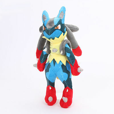 "New POKEMON XY Mega Lucario Stuffed Plush Doll Rucario Soft Toy 11"" Teddy Gift"