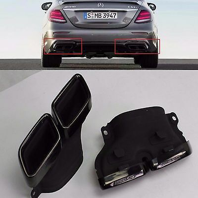 2Pcs Fits for Mercedes-Benz C63 E63 AMG Style Rear End Exhaust Muffler Pipe Tip