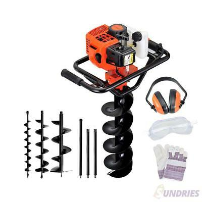 88CC 2-Stroke Petrol Post Hole Digger Earth Auger Drill Bit Fence Borer Kit Set