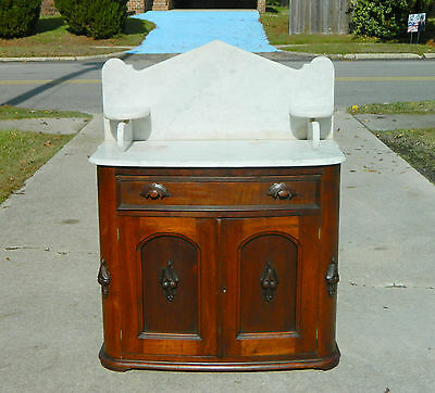 Walnut Victorian Marble Top Washstand circa1870