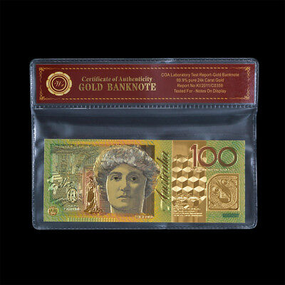 WR Australian $100 Dollar Paper Note 24K GOLD Colored Banknote Money /w COA PACK