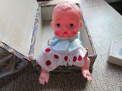 Vintage doll Plastic Crawling Baby Doll w Metal Body made in Japan