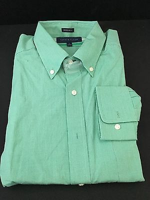 New Mens Tommy Hilfiger Dress Shirt Regular Fit 100% Cotton16  34-35 Green/white