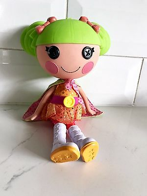 "Dyna Might Lalaloopsy Doll Big 12"" 32cm Tall Plastic Button Eyes Green Cape"