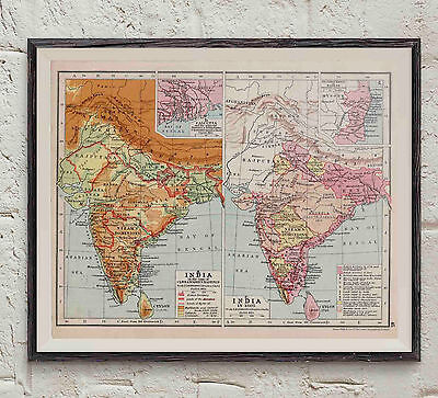 Map of India 1810  Print  10 X 8