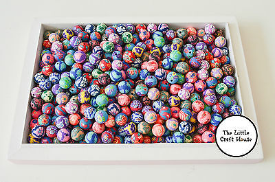 50 x Random Mix Handmade Polymer Clay Round Beads Approx. 10mm Bead Jewellery