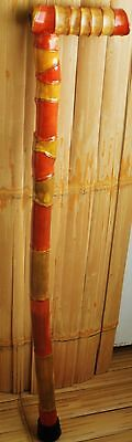 """Bamboo Walking Cane Handcrafted with 2 Amethyst Stones 36"""""""