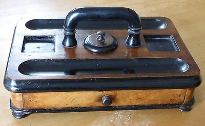 Antique Victorian Walnut & Ebonised Desk/Ink Stand with Drawer