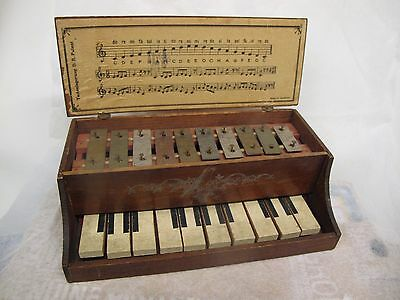 Antique Wooden Toy Piano with Metal Xylophone or Glockenspiel Sound