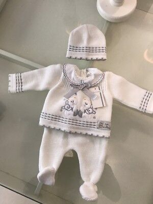 Spanish White Knitted 2 Months Baby Outfit . Hat, Booties, Cardigan And Bottoms