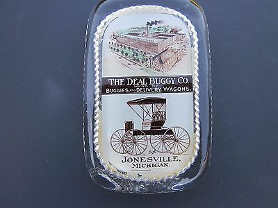Vintage Rare The Deal Buggy Co. Jonesville Mich MI Paperweight Buggies & Wagons