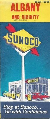 1962 SUNOCO Road Map ALBANY COLONIE RENSSELAER New York Thruway Westmere Airport