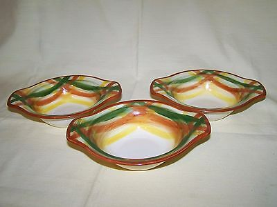 "Set of 3 Vernonware Vernon Kilns ""Homespun"" Lugged Chowder Bowls"