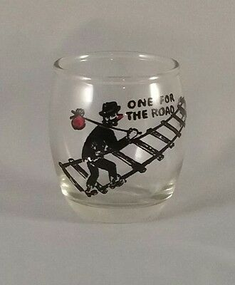 """One For The Road"" Shot Glass Jigger Shooter Hobo on Railroad Track"