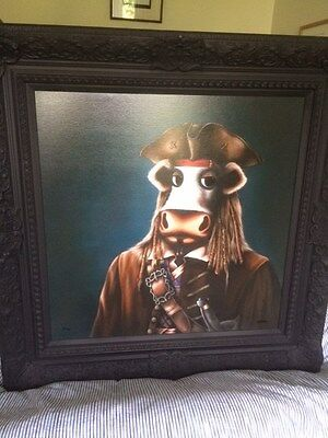 Caroline Shotton signed limited edition oil painting canvas on board Arrrrgh!