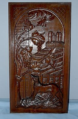 Large French Antique Deeply Carved Panel with Fox and grapes (high relief)