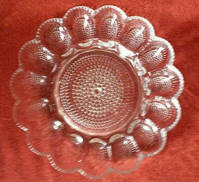Vintage Indiana Glass Thousand Eye Hobnail Deviled Egg Relish Oyster Plate Dish