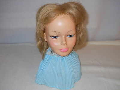 Vintage 1974 Horsman Styling Doll Head - with blue apron