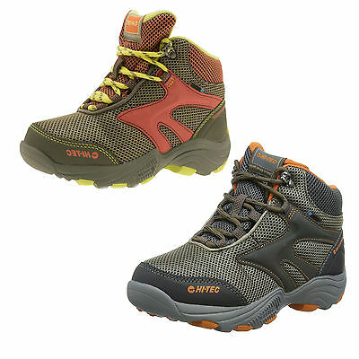 Kids Hi Tec Waterproof Walking Breathable Lace Up Brown Boots Flash Fast Hike