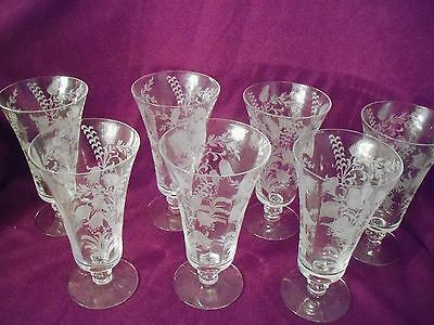 "7 Tiffin Elegant Glass Fuchsia Parfait 6 1/2"" Footed Glasses Acid Etched Crystal"