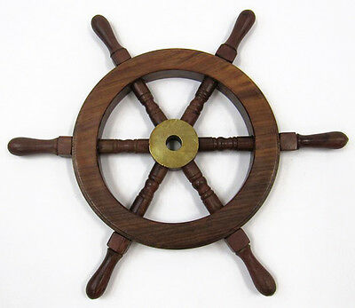"Ship's Steering Wheel 12"" Wooden Hub w/ Brass Cap Maritime Hanging Wall Decor"