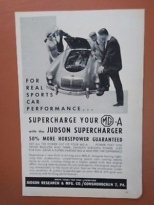 1958 MG-A Judson Supercharger Car Auto photo print ad