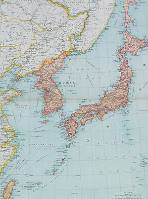 Map of Japanese Empire Political Large 1922 Original Antique