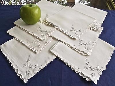 "8 Vintage White Linen Madeira Embroidered Eyelet Flowers 13""Tea Cocktail Napkins"