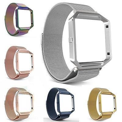 Magnetic Milanese Stainless Steel Wrist Band Strap +Metal Frame For Fitbit Blaze