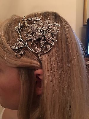 Vintage silver and pearl bridal headband by Flo and Percy