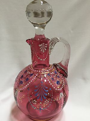 Antique MOSER Cranberry Victorian Cruet w/Hand-painted Enamel & original stopper